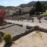 Ancient Roman ruins of former boutiques in Romaine-la-Vaiselle