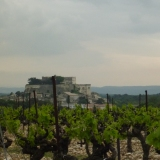 Grignan as seen through the vineyards