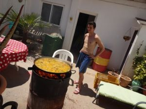 Vicente cooking paella