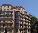 Panoramic showing some of the architecture of Barcelona