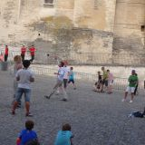 Street performance during the Festival Off in front of the Palais des Papes