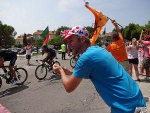 Cheering on the peloton