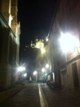 Looking up to the Basilique Notre-Dame de Fourvière at night