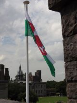 The Welsh flag flying at the Cardiff Castle