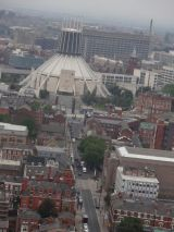 The Metropolitan Cathedral as seen from atop the Liverpool Cathedral