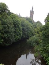 A view of the Glasgow University on the River Kelvin